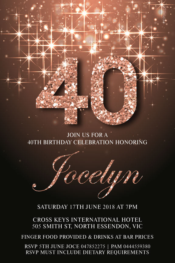 Gold and diamond number birthday invitation, bedazzled rose gold invitation, sparkly rose gold invitation