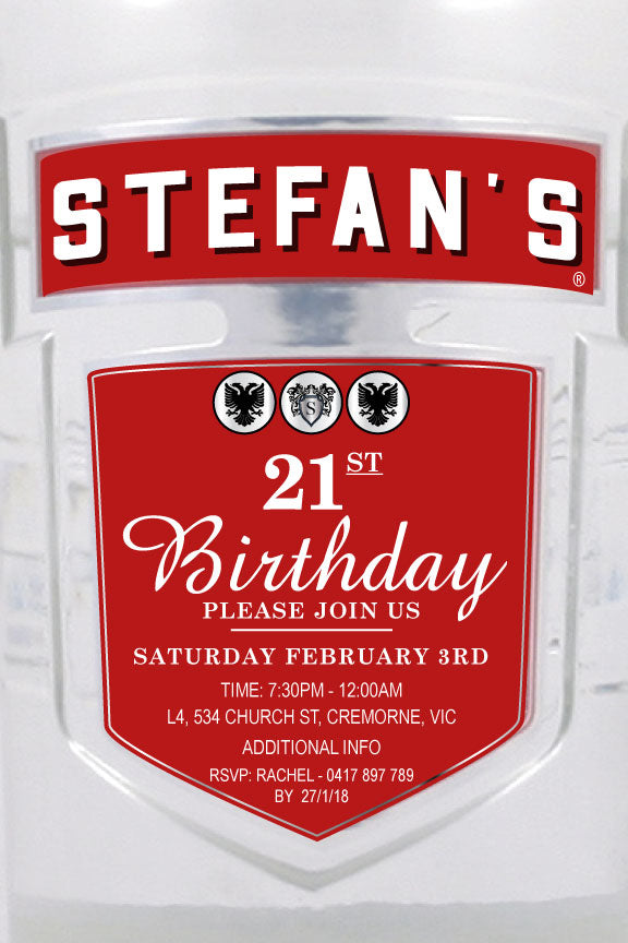 Smirnoff birthday party invitation, Smirnoff label invitation,