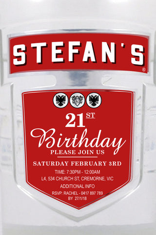 30th and 40th birthday invitation, adult birthday invitations, smirnoff vodka party invitation,