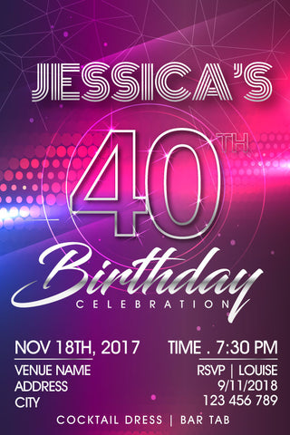 40th birthday invitations, adult birthday party invitations, disco birthday invitations,