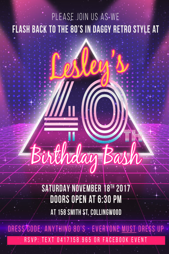 Back To The 80s Birthday Invitation Template 80 S Bash