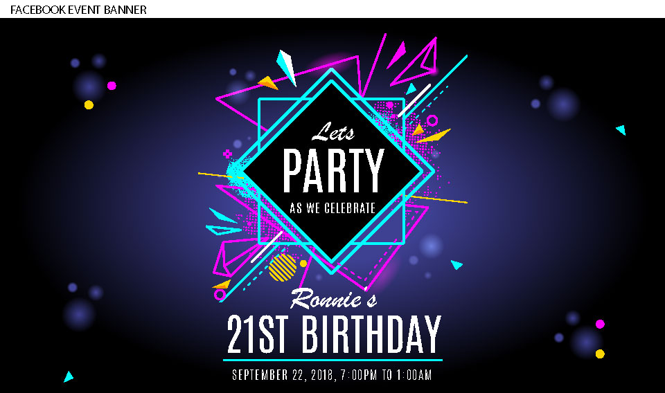 black with fluro and neon lights modern retro 21st birthday invitation, Facebook banner for event page