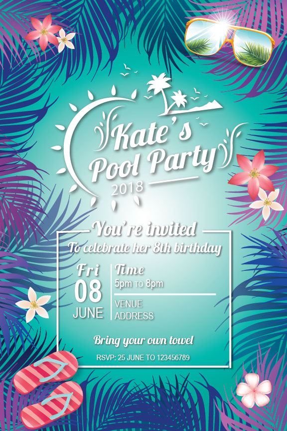 Pool Party Birthday Invitation Summer Tropical Beach