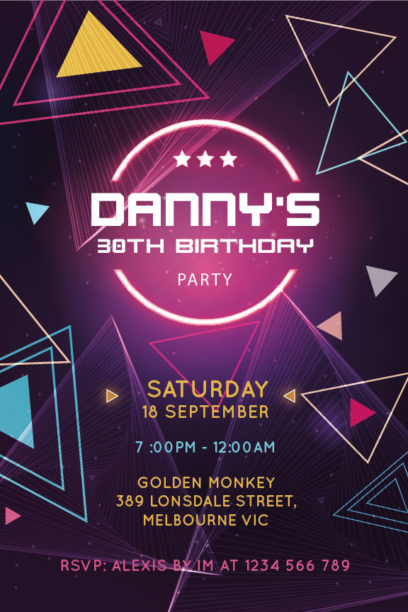 retro shapes and neon lights, 80s theme 30th birthday invitation, modern design