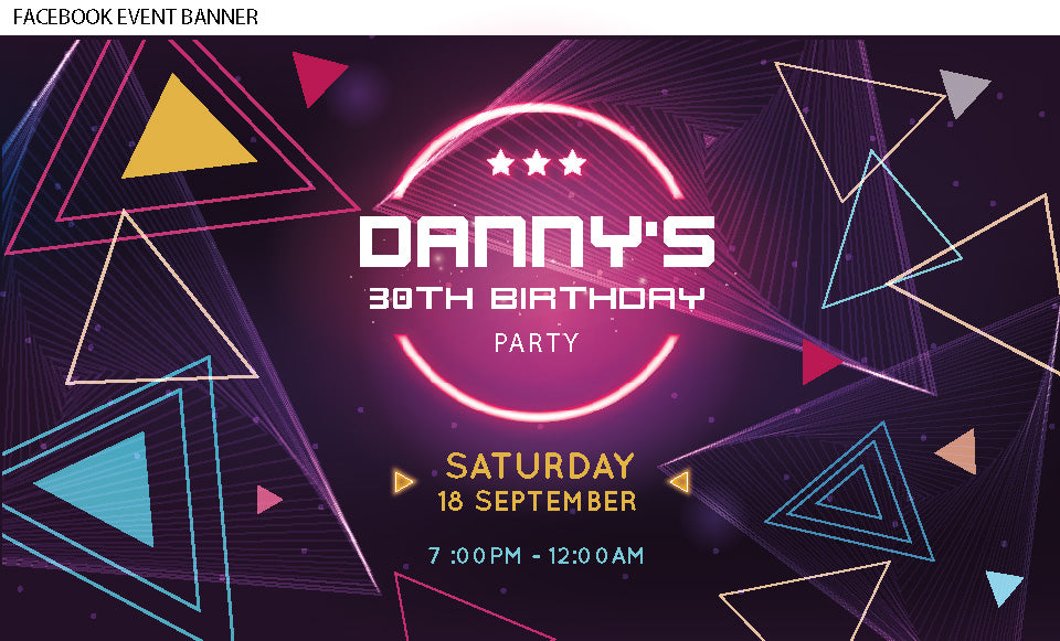 retro shapes and neon lights, 80s theme 30th birthday invitation, modern design facebook banner