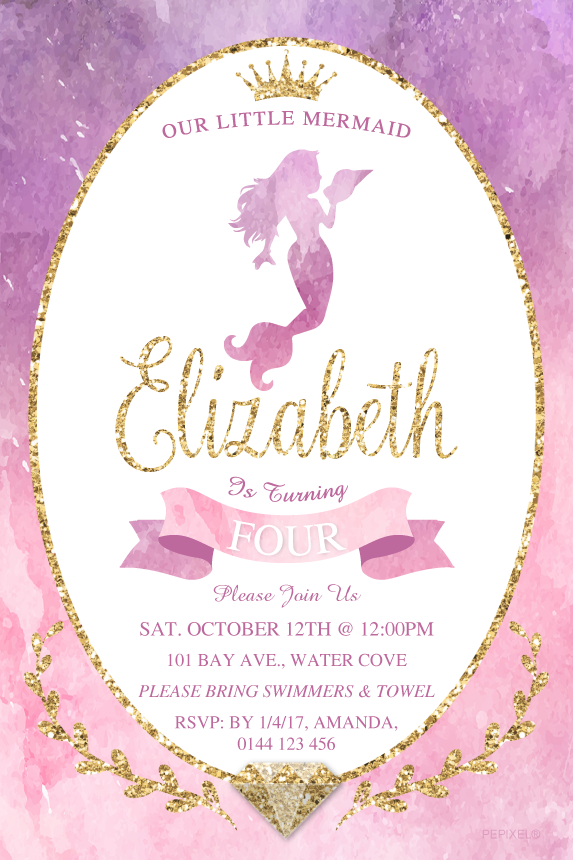 Glittery Mermaid pink, purple and gold Beautiful mermaid birthday party invitation