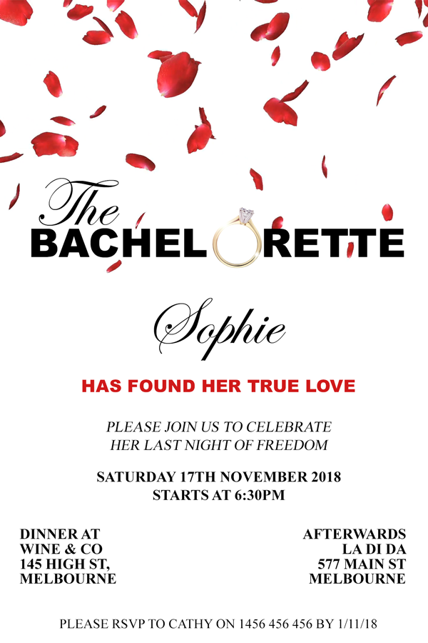 The bachelorette tv show party invitation,