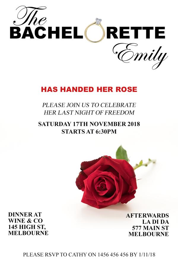 The bachelorette tv show party invitation, Red Rose
