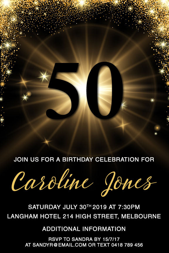 Gold Stars And Sparkles On Black Background 50th Birthday Invitation Template