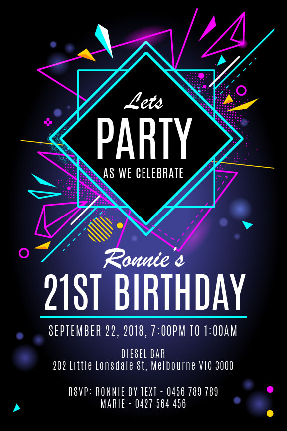black with fluro and neon lights modern retro 21st birthday invitation