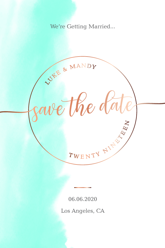 watercolor wedding save the date card, rose gold and green save the date