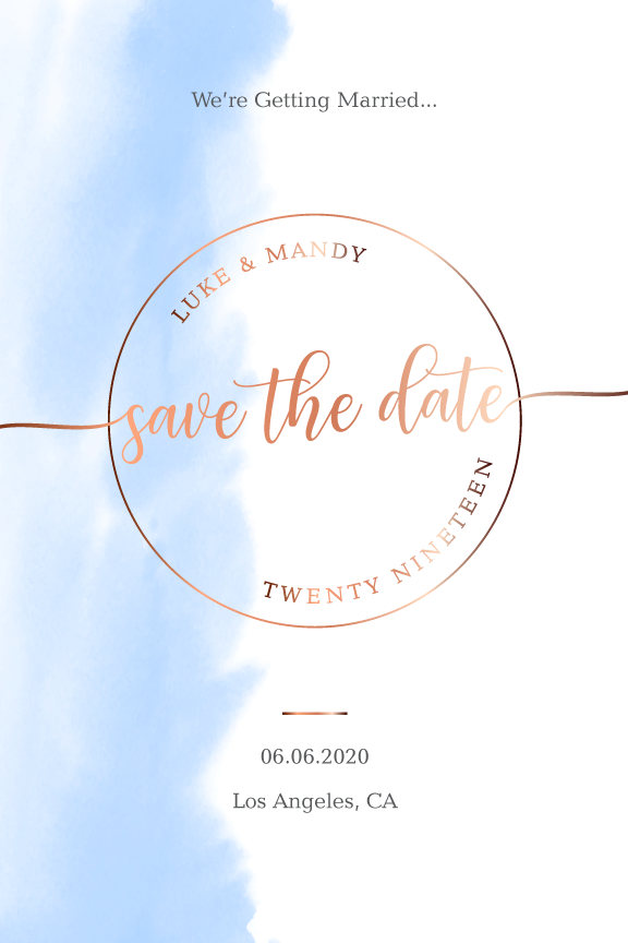 watercolor wedding save the date card, rose gold and blue save the date