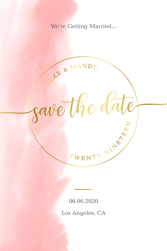 pink watercolor wedding save the date card, gold and pink save the date