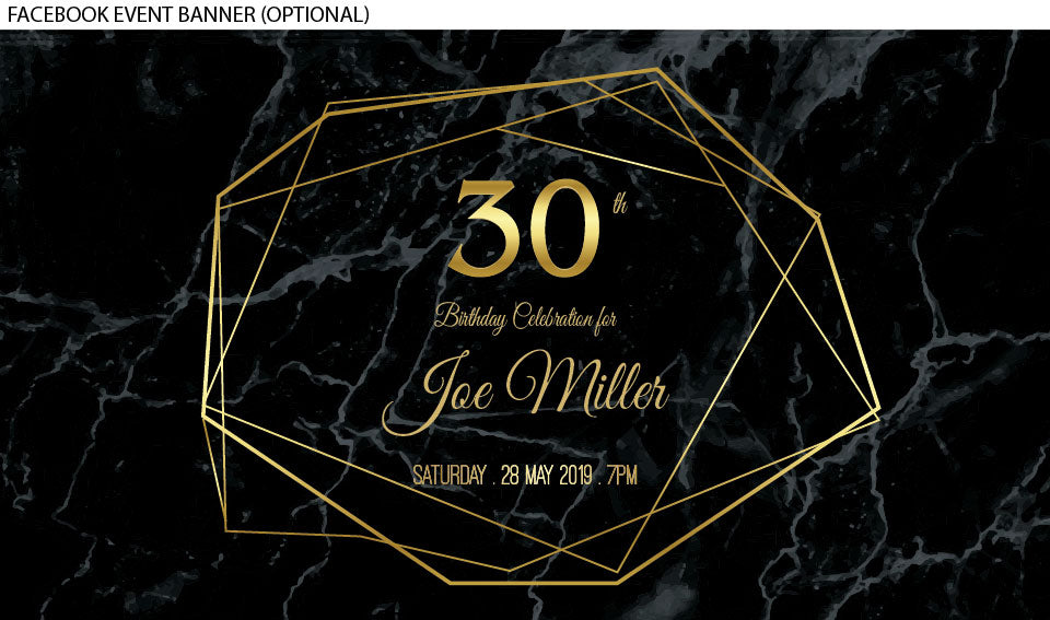 30th bithday invitation with gold shapes on a black marble background facebook event banner