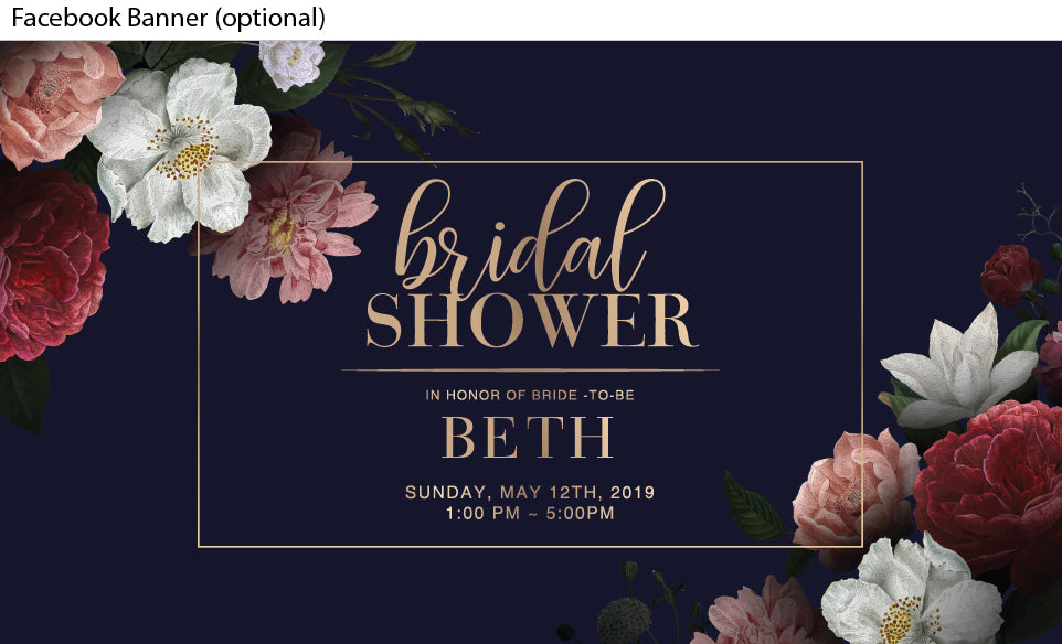 Navy background with beautiful floral posies in the corners bridal shower invitation or kitchen tea invite = , facebook event banner image