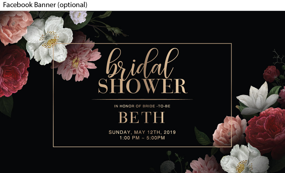 black background with beautiful floral posies in the corners bridal shower invitation or kitchen tea invite , facebook event banner image