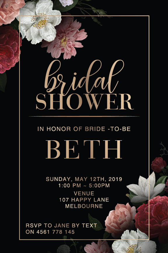 black background with beautiful floral posies in the corners bridal shower invitation or kitchen tea invite