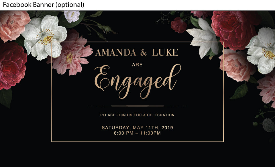 black background with beautiful floral posies in the corners engagement invitation  facebook event