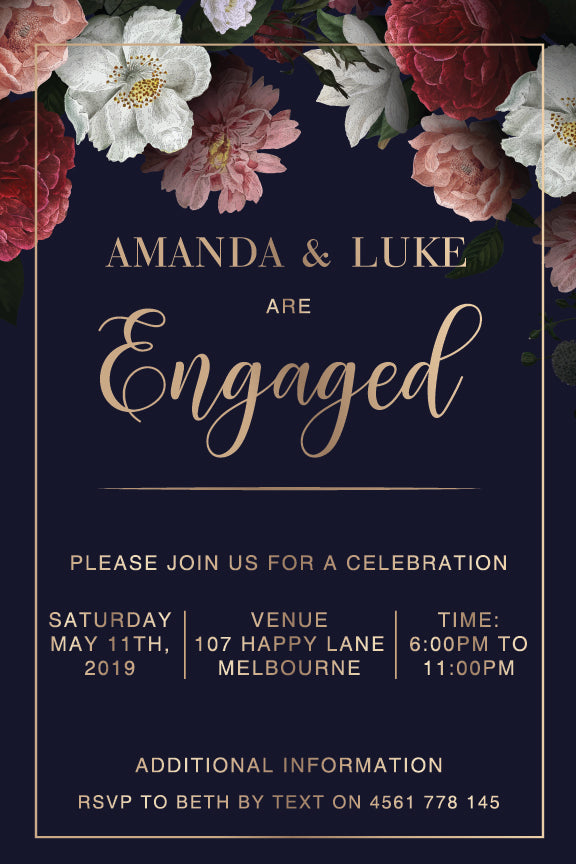 navy background with beautiful floral posies in the corners engagement invitation
