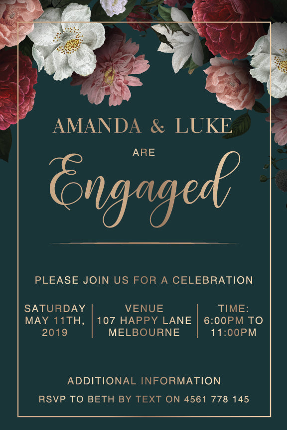 emerald green background with beautiful floral poise engagement invitation