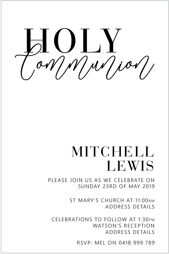 first holy communion and confirmation invitation for boy, modern black and white design