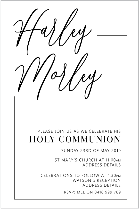 Communion and Confirmation Invitation, - Modern Spirit