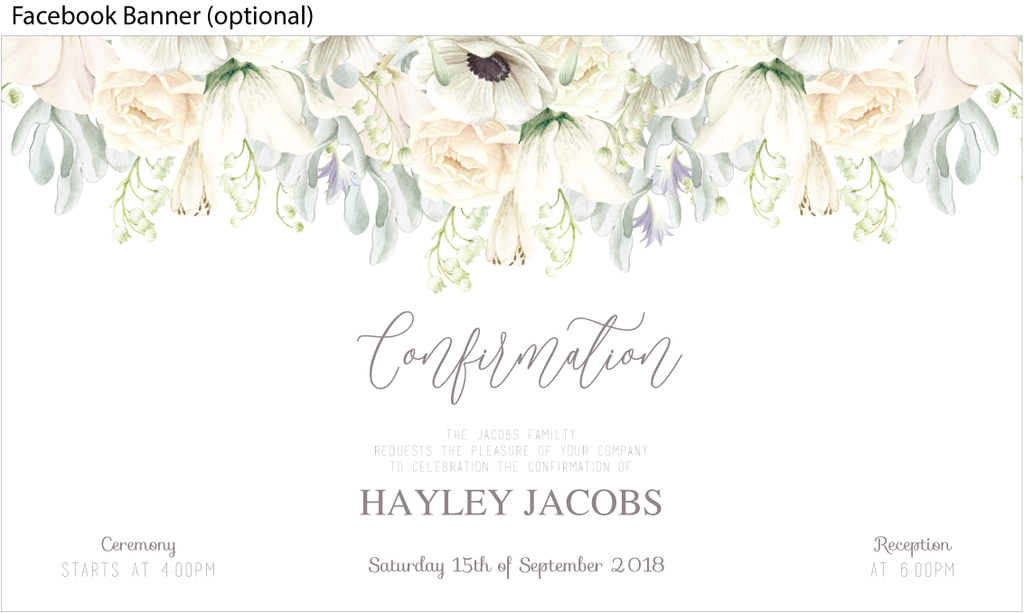 white floral Holy communion invitation, white floral confirmation invitation facebook event banner image