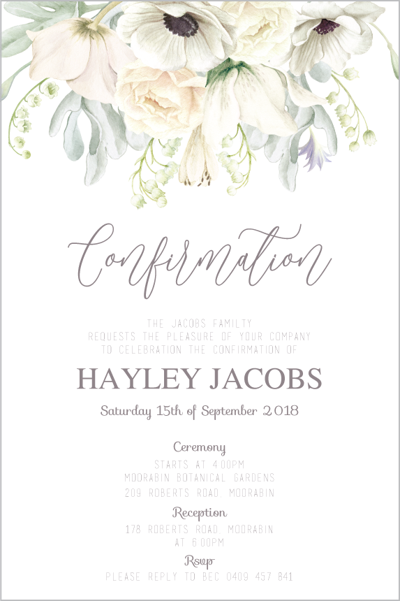 white floral Holy communion invitation, white floral confirmation invitation