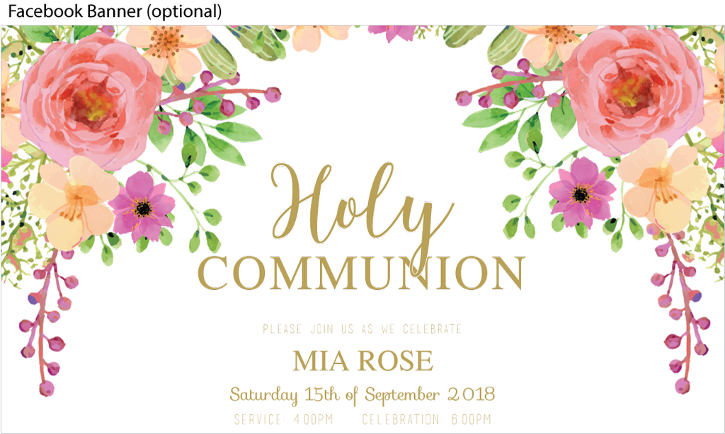 First holy communion and confirmation for a girl with a pretty floral design, facebook image