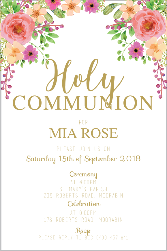 First holy communion and confirmation for a girl with a pretty floral design,