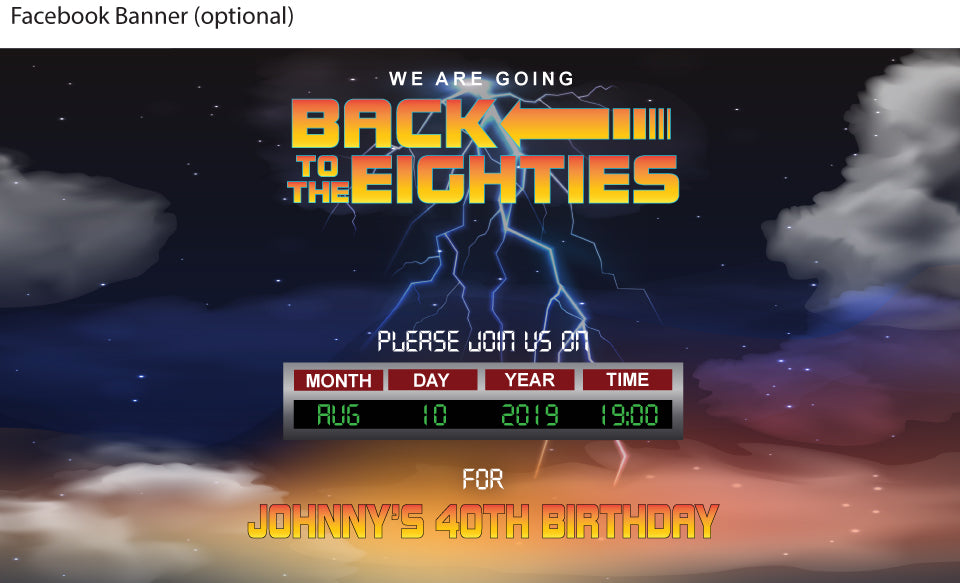 back to the future movie invitation. 80's birthday party facebook banner pic
