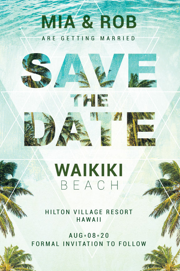 Paradise and palm tree destination wedding save the date, beach wedding save the date invitation