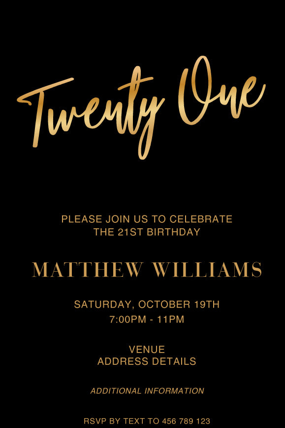 Simple and stylish classic black and gold 21st birthday invitation