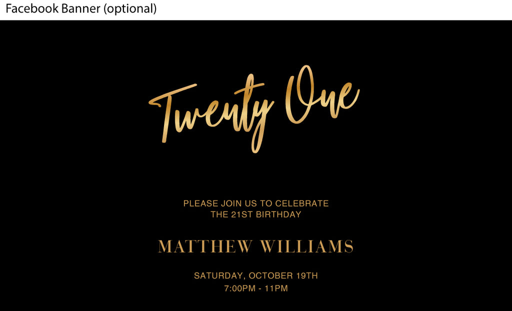 Simple and stylish classic black and gold 21st birthday facebook event image