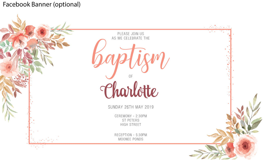 Peach floral baptism and christening invitation for a girl
