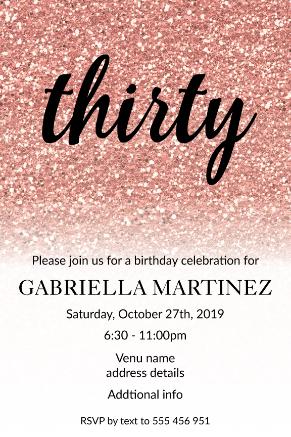 rose gold glitter with black text invitation