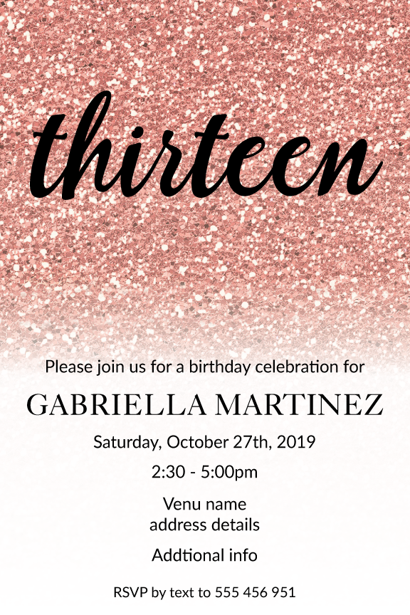 rose gold glitter with black text invitation for 13 year girl