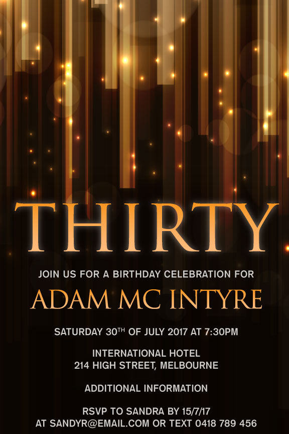 Mens 30th birthday invitation with stars and flickering lights
