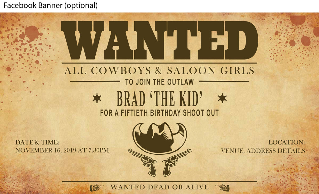 western, coyboy, wild wild west, wanted poster facebook event banner