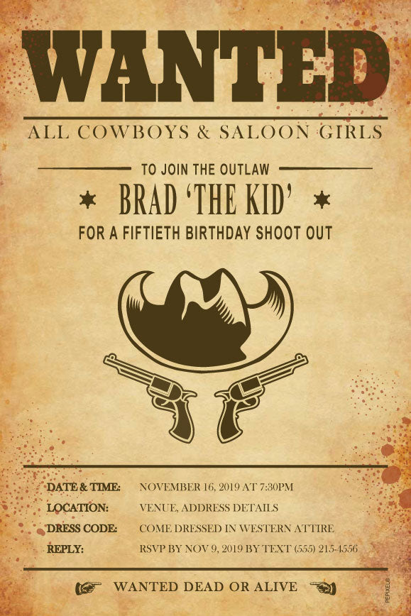 western, coyboy, wild wild west, wanted poster birthday party invitation,