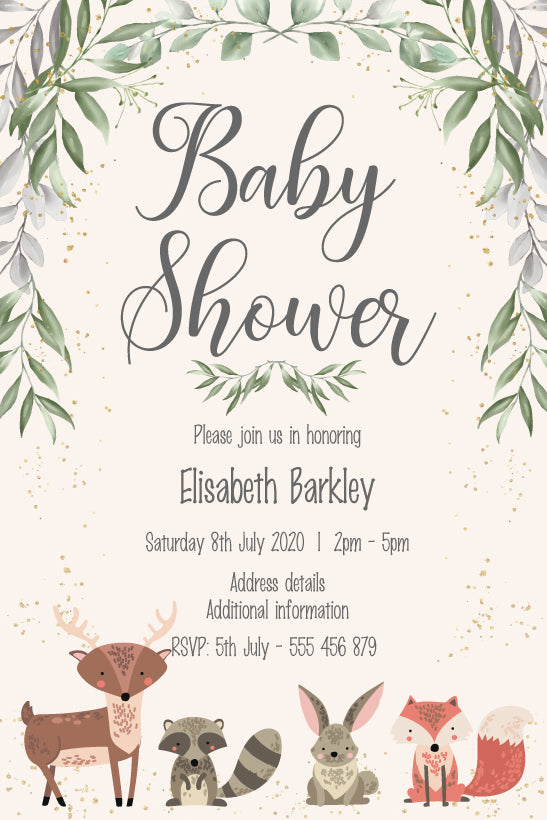 cute woodland  forest , baby animals baby invitation