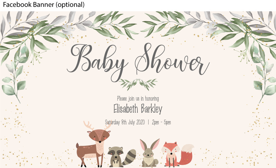 facebook event banner for cute woodland  forest , baby animals baby invitation