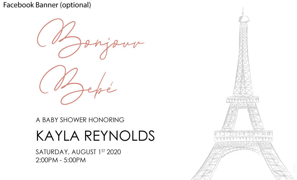 facebook event banner image for a minimalist paris theme baby shower invitaiton