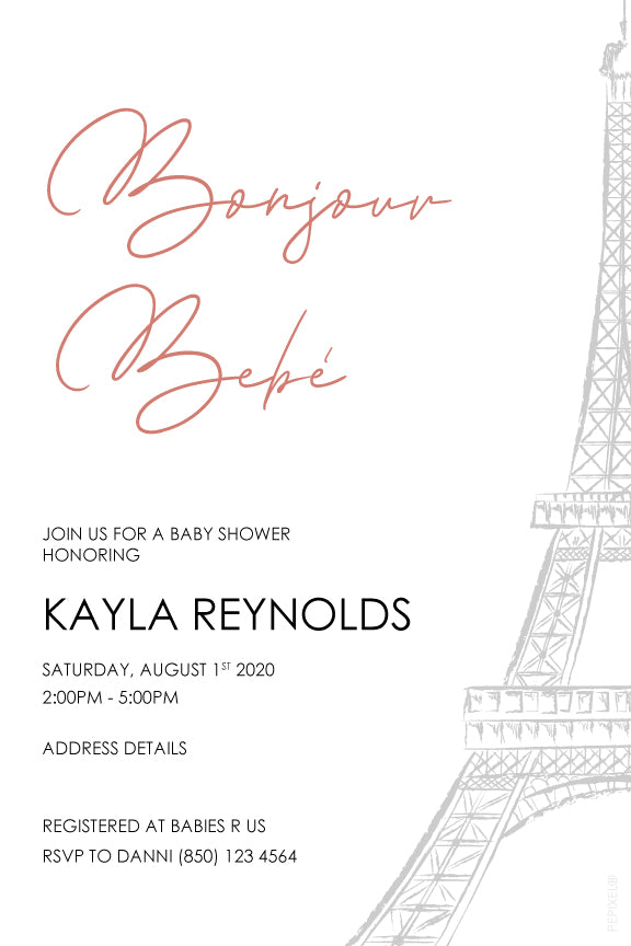 Rose gold paris theme baby shower invitaiton