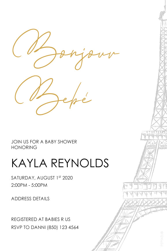 gold minimalist paris theme baby shower invitaiton