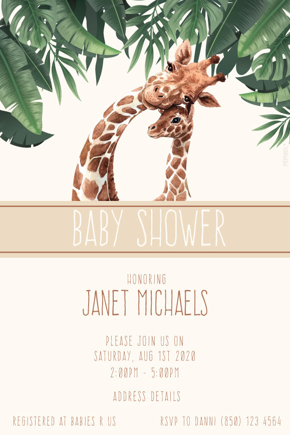 baby safari and giraffe baby shower invitation