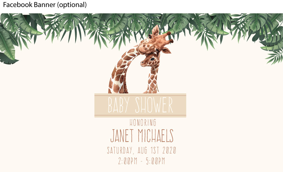 baby safari and giraffe baby shower invitation facebook event banner  image