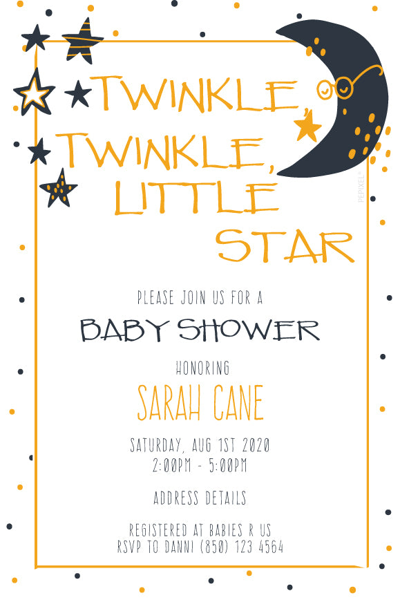 baby boy twinkle little star baby shower invitaion for boys