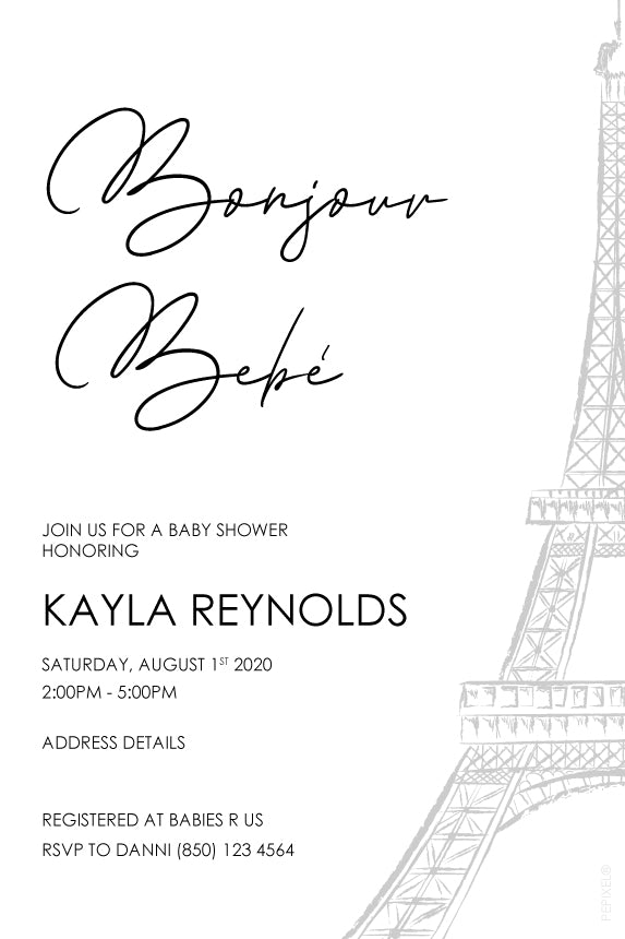 Minimalist paris theme baby shower invitaiton