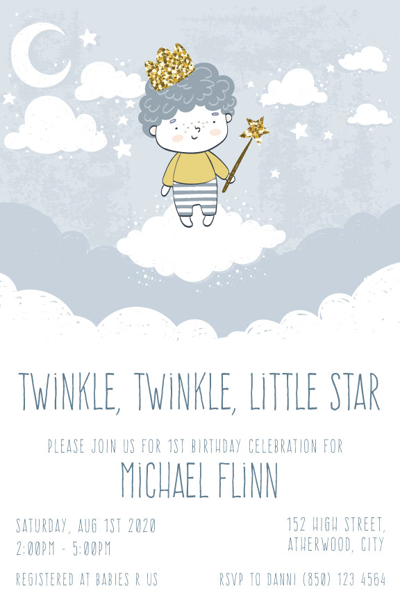 1st birthday invitation for little boy little star